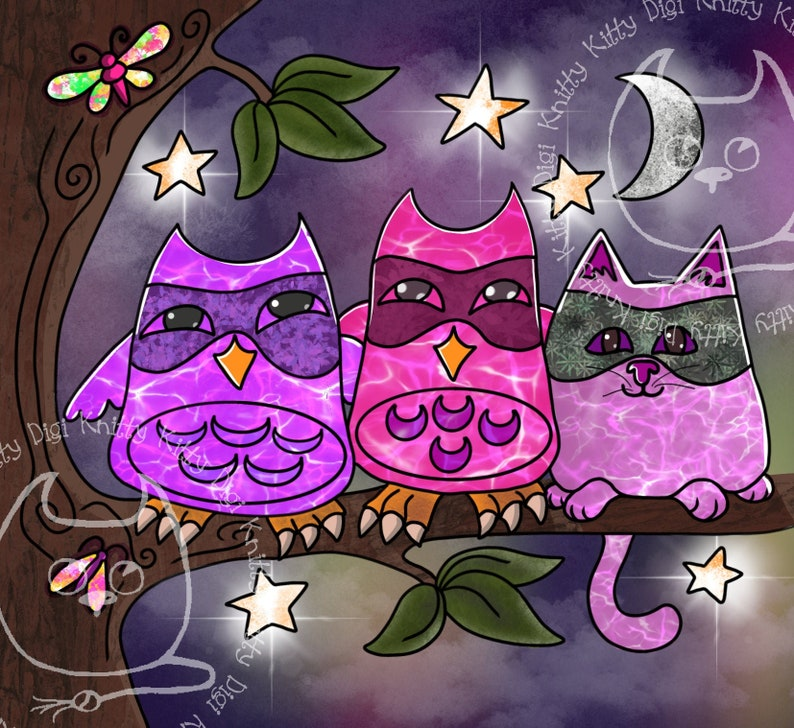 Digi Stamp Instant Download. The Three Mouskitteers Knitty image 0