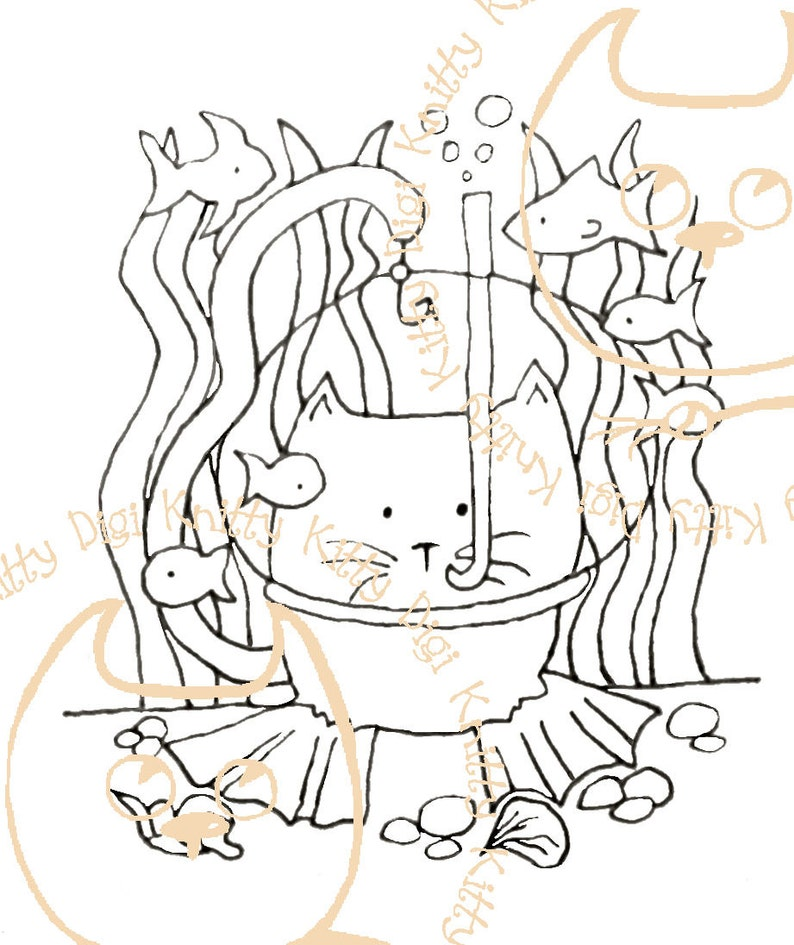 Digi Stamp Instant Download. Deep Sea Diver  Knitty Kitty image 0