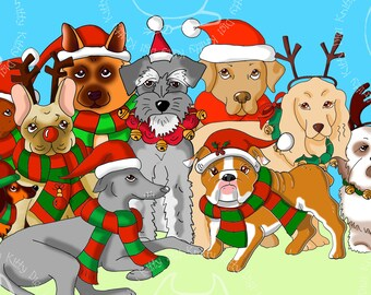 Digi Stamp Instant Download. Festive Dogs Complete Collection - Knitty Kitty Digis No.77