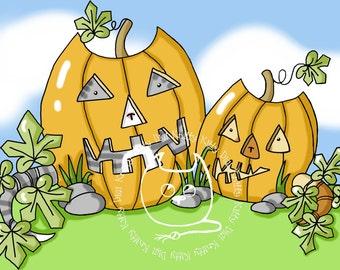 Digi Stamp Instant Download. Pumpkitties - Knitty Kitty Digis No. 42
