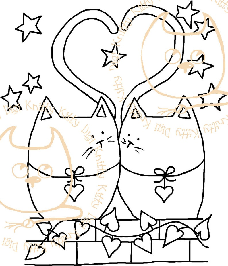 Digi Stamp Instant Download. Tail of Two Kitties  Knitty image 0