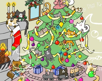 Digi Stamp Instant Download. Pulling Down The Christmas Tree. Christmas Collection. Knitty Kitty Digis No. 16