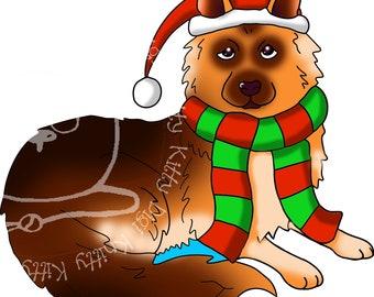 Digi Stamp Instant Download. Festive German Shepherd - Knitty Kitty Digis No.75