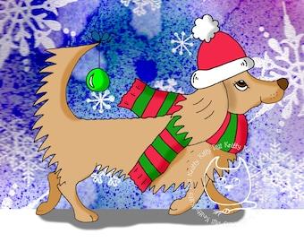 Digi Stamp Instant Download. Dachshund Thru The Snow - Knitty Kitty Digis No.43