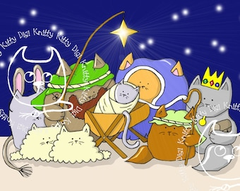 Digi Stamp Instant Download. Nakivity. Christmas Collection. Knitty Kitty Digis No. 13