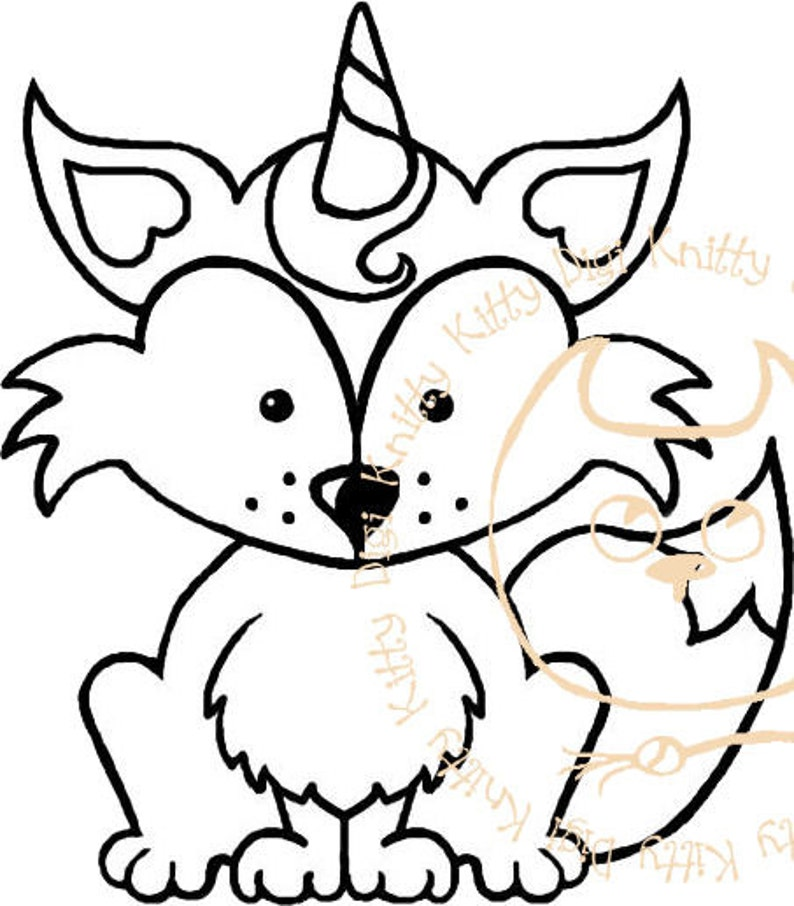 Digi Stamp Instant Download. The Foxicorn  Knitty Kitty Digis image 0