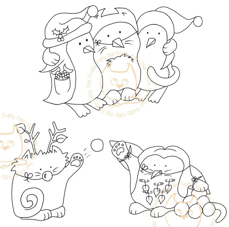 Digi Stamp Instant Download. Build a Snow Scene Trio Catguin image 0