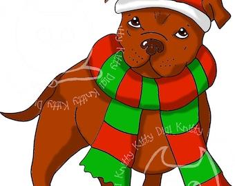 Digi Stamp Instant Download. Festive Staffie - Knitty Kitty Digis No.71