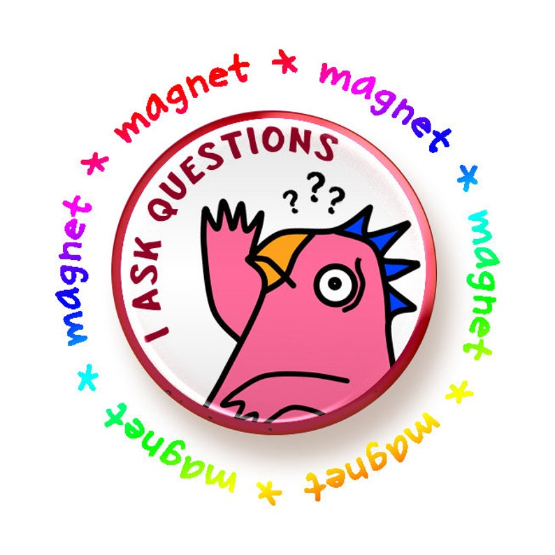 I Ask Questions round magnet