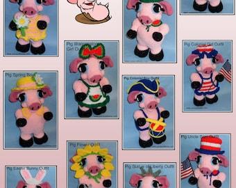 Crochet Pig Doll OUTFITS Set 1, crochet doll outfits, crochet patterns, crochet outfits