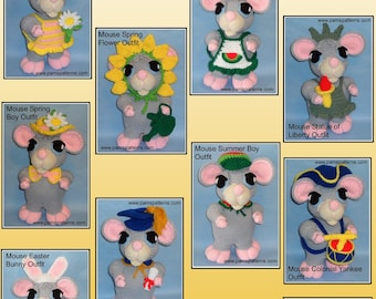 Crochet Mouse Doll OUTFITS Set 1, crochet doll outfits, crochet patterns, crochet outfits