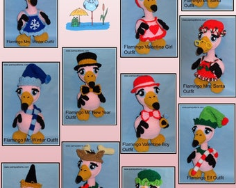 Crochet Flamingo Doll OUTFITS Set 2, crochet doll outfits, crochet patterns, crochet flamingo