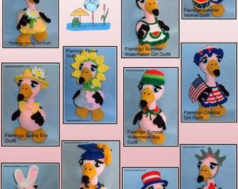 Crochet Flamingo Doll OUTFITS Set 1, crochet doll outfits, crochet patterns, crochet flamingo