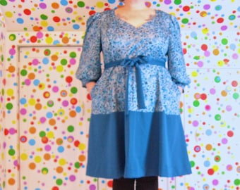PostMod Princess Dress -- vintage blues, floral + solid knits -- 3/4 sleeves, pockets, belt -- size 24, 3X, XXXL -- 54B-48W-54H