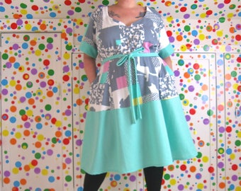 PostMod Princess Dress -- ValleyGirl edition -- real plus size, 4X to 5X -- vintage sweatshirt fleece + seafoam green knit -- 63B-55W-63H