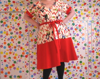 PostMod Princess Dress -- size 3X, 24W, 26W -- vintage scribble print sweatshirt fleece and red wool jersey fabrics -- 52B-47W-56H