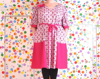 PostMod Princess Dress -- real plus size 28 to 32W, 4X to 5X -- vintage pink and purple floral knit + fuchsia wool jersey -- 63B-57W-63H