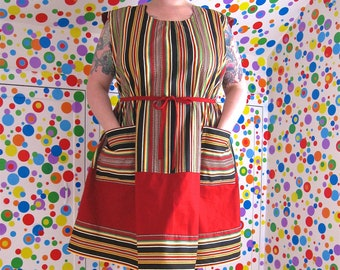 RiotLady Dress -- stripes and more stripes, red, black -- real plus size 24 / 26 -- belt, pockets -- 54B-60W-66H