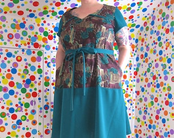 PostMod Princess Dress -- plus size 22/24 -- Goth, Emo, roses + arch windows burgundy + teal vintage fabrics -- 50B-46W-54H