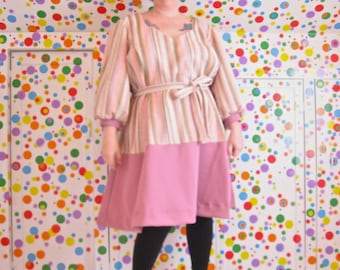 PostMod Princess Dress -- mauve + striped vintage 80s fabrics -- real plus size, size 28, size 30W, 4X -- 60B-56W-62H