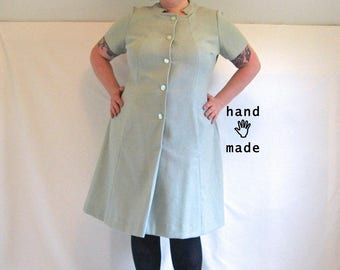 Dystopia Dress -- a-line Mod shift, matching scrunchy -- plus size, size 20, 2X -- fog mist teargas green -- 49B-44W-56H