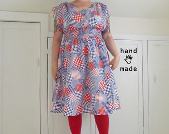 GobSmocked Dress in D • O • T • S -- vintage polka dot cotton fabric, one of a kind -- plus size, size 24 / 26W, 3X, XXXL -- waist 42-50""