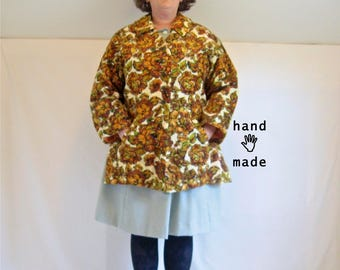 Swing Carpet Coat -- one of a kind, handmade from vintage textile -- size 1X (swingy) to 2X (ideal) to 3X (more fitted) -- 52B-50W-56H