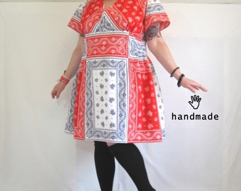 Bandana-rama Dress - plus size dress, size 26 / 3X, one of a kind, handmade in vintage cotton fabric, lined, retro summer -- 60B-48W-62H
