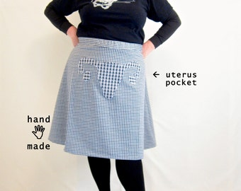 Uterus Skirt -- plus size, size 24, 26W, 3X, xxxl -- Feminist Fashion -- navy white check vintage knit poly fabric -- 46W-61H