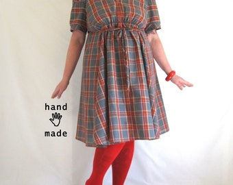 Plaid Persuasion Dress - plus size, size 22 / 2X, one of a kind, empire waist, fit and flare, steel gray, red -- 49B-46W-70H
