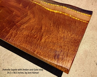 Pomelle Sapele Amber and Gold Inlaid Coffee / Cocktail Table, 58 x 29, Joni Hamari