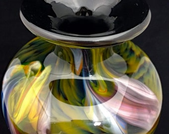 Large Kamei Glass Osaka Vase, Art Glass, blown cased glass, Big heavy piece!
