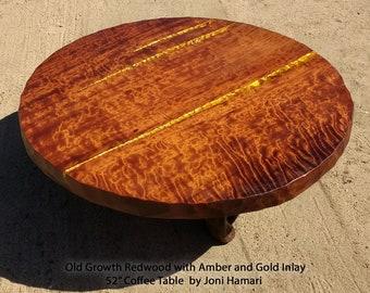 "Curly Burl Redwood Coffee / Cocktail Table Amber and Gold Inlay, 52"", Joni Hamari"