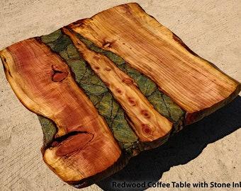 Redwood Burl Coffee Table with Stone inlay, Driftwood base, live edge wood slab, by Joni Hamari