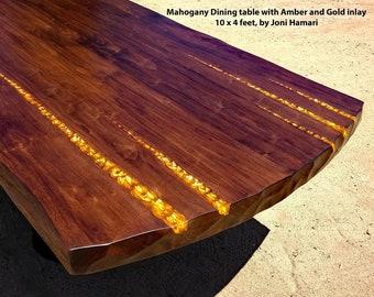 Mahogany Dining / Conference Table, Amber and Gold Inlay, 10 x 4 ft, Joni Hamari