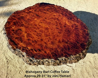 Mahogany Burl Coffee / Cocktail Table, very rare old live edge slab, Joni Hamari