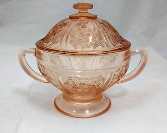 Federal Sharon / Cabbage Rose Pink Depression Glass Covered Sugar Bowl