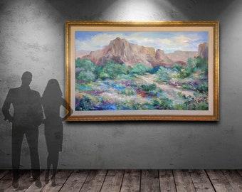 VERY Large ALIX STEFAN Arizona Desert Landscape Painting, Original Oil on Canvas