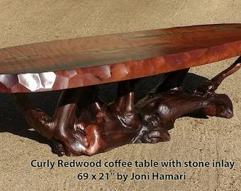 Redwood Burl Coffee Table with Stone inlay, Driftwood Root base, wood slab table by Joni Hamari