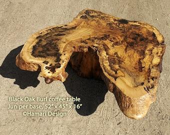 Live Edge Black Oak Burl Coffee Table, wood slab, Juniper base, by Joni Hamari