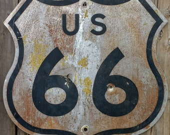 """Vintage Original US 66 / Route 66 Highway Sign, Guaranteed Authentic, 24"""" x 24"""" Rare!"""