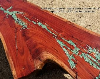Eucalyptus Coffee Table with Turquoise inlay, Driftwood base, live edge wood slab, by Joni Hamari