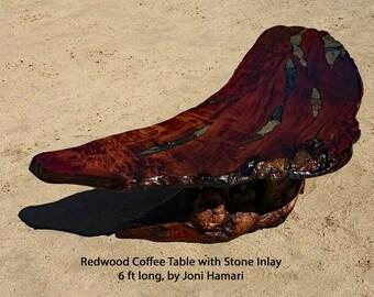 Redwood Burl Coffee / Cocktail Table with Stone Inlay, 6 ft, Joni Hamari