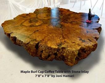 Maple Burl Coffee Table, Stone Inlay, Massive Museum Worthy 8x8 Feet! Joni Hamari