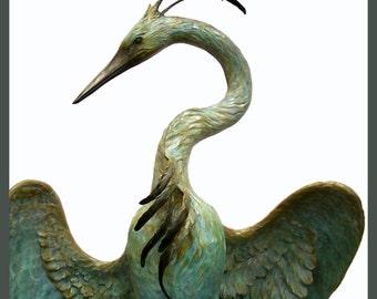In the Shadows of Dawn, monumental Heron Sculpture, Bronze, by Joni Hamari