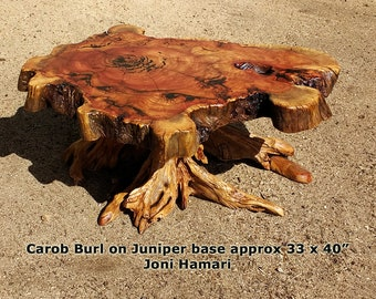 Carob Burl Coffee Table, Juniper base, live edge wood slab, by Joni Hamari