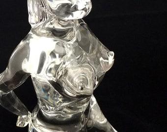 "PINO SIGNORETTO Signed Blown Glass Female Nude Sculpture, Italy 13.5"" X 7"""