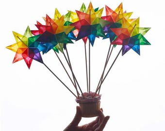 Bouquet of Stars as a Birthday Gift -- Make your own with DIY Kit: Rainbow Stars, Window Stars, Cake Toppers, Invitations - Handwork Studio