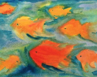 Goldfish, Lily, Red Flower and Morning Snowfall:  Original Paintings by Kathie Young
