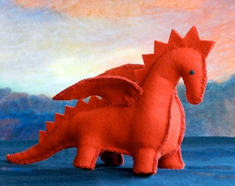 DIY Felt Patttern - PDF Instruction - The Dragon - a perfect handmade gift for a baby, child or someone special - Handwork Studio